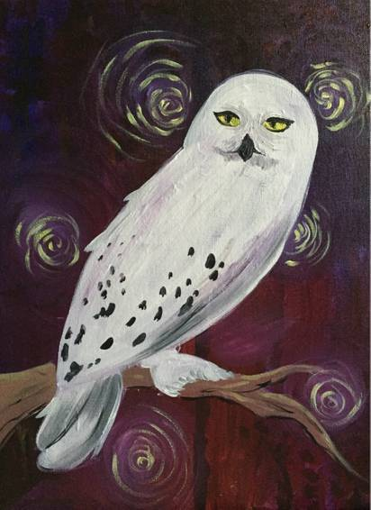 A Magical Snowy Owl paint nite project by Yaymaker