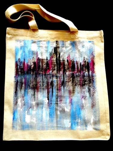 A Impressionist Cityscape Tote Bag paint nite project by Yaymaker