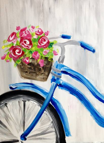 A Red Roses and Blue Bicycle paint nite project by Yaymaker