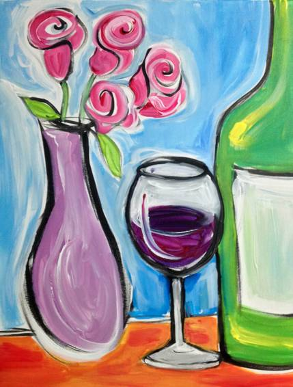 A Wine and Roses paint nite project by Yaymaker