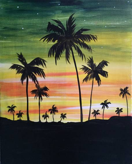 A Twilight Palm Trees paint nite project by Yaymaker