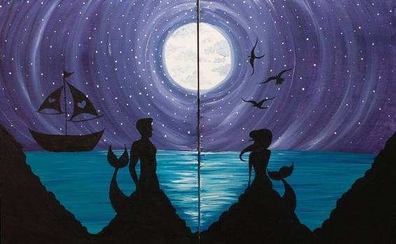 A Love in Mermaid Cove Partner Painting paint nite project by Yaymaker