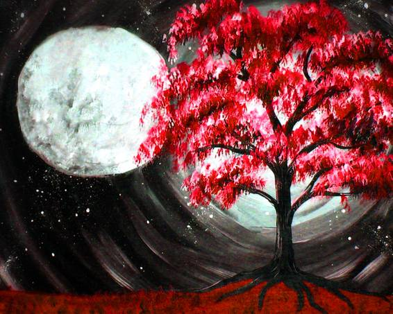 A Cherry Blossom with a Moonlight Glow paint nite project by Yaymaker