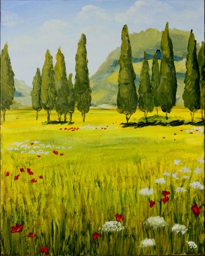 A Tuscany Summer Fields paint nite project by Yaymaker
