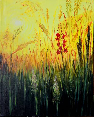 A Burning Grass Sunset With Red Flowers paint nite project by Yaymaker