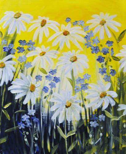 A Daisies n Blue Flax paint nite project by Yaymaker
