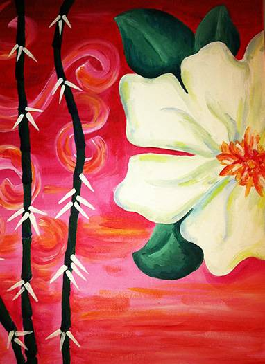 A White Flower  Bamboo paint nite project by Yaymaker