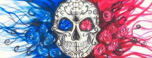 A Calavera Sugar Skull Roses Partner Painting paint nite project by Yaymaker