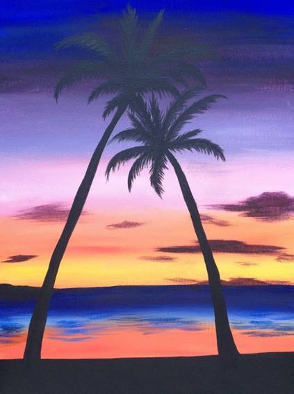 A Jamaican Sunset paint nite project by Yaymaker