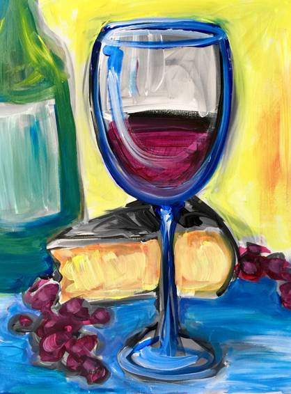A Abstract Wine and Cheese paint nite project by Yaymaker