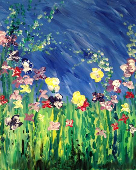 A Monets Acrylic Irises paint nite project by Yaymaker