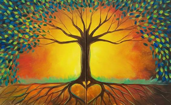 A Rooted in Love Partner Painting paint nite project by Yaymaker