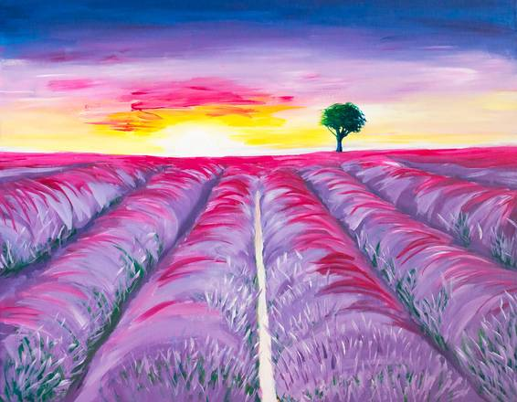 A Blooming Lavender Field Under Sunset paint nite project by Yaymaker