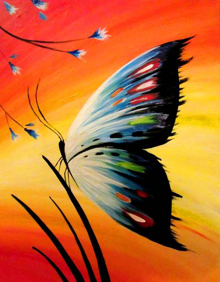 A Butterfly Blue paint nite project by Yaymaker