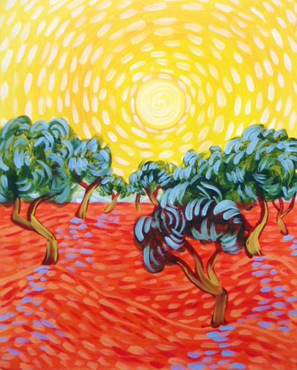 A Van Goghs Olive Trees paint nite project by Yaymaker
