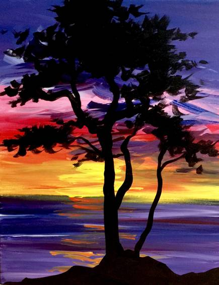A Beach Tree Serenity paint nite project by Yaymaker