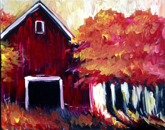 A Red Barn in Autumn paint nite project by Yaymaker