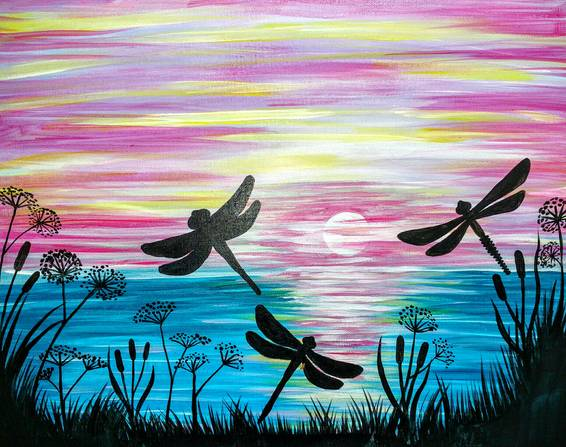 A Dragonflies at Dusk paint nite project by Yaymaker