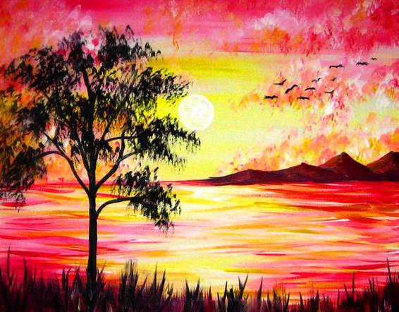 A Relaxing Sunset Beauty paint nite project by Yaymaker