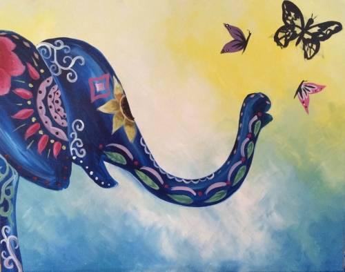 A Boho Elephant paint nite project by Yaymaker