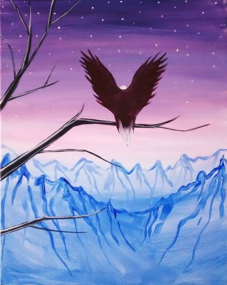 A Eagle In The Mountains paint nite project by Yaymaker