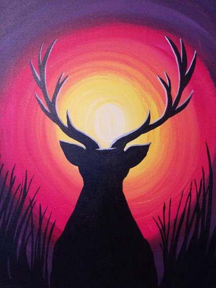 A Sunset Stag paint nite project by Yaymaker