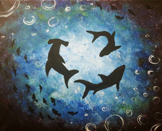 A Circling Sharks paint nite project by Yaymaker