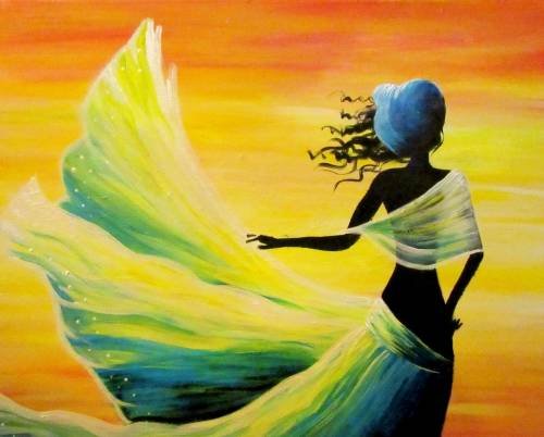 A Woman in the Wind paint nite project by Yaymaker
