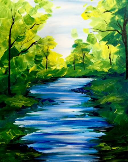 A Summer Stream paint nite project by Yaymaker