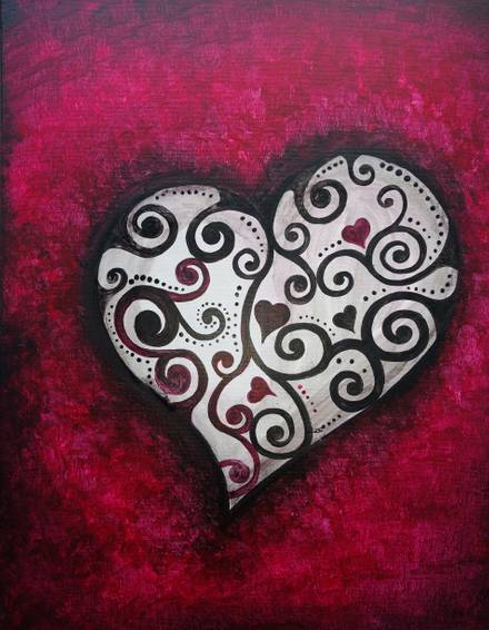 A Crazy Heart paint nite project by Yaymaker