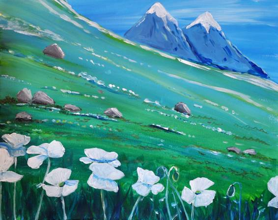 A Alpine Meadow paint nite project by Yaymaker