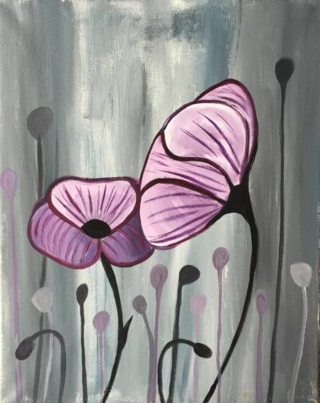 A Lavender Poppies paint nite project by Yaymaker