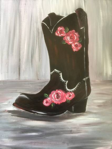 A Dusty Rose Boot paint nite project by Yaymaker