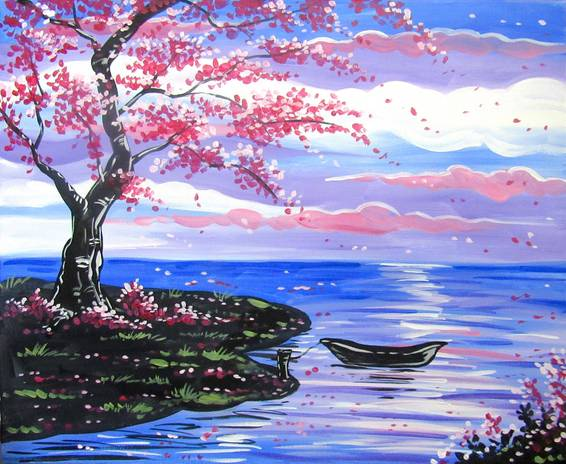 A Red Blossom Tree and a Boat paint nite project by Yaymaker