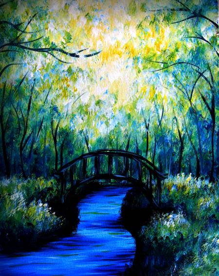 A Bridge under the Green Forest paint nite project by Yaymaker