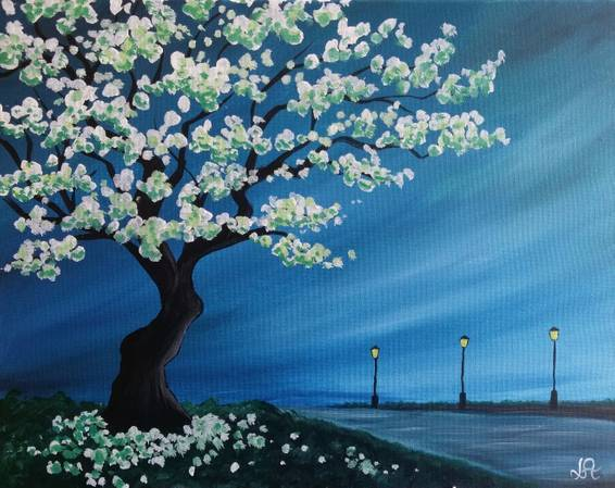 A White Blossom Path paint nite project by Yaymaker