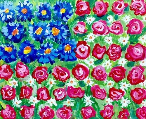 A American Flag in Flowers paint nite project by Yaymaker