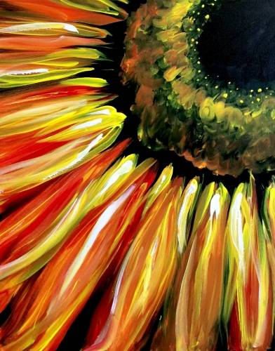 A Fiery Sunflower paint nite project by Yaymaker