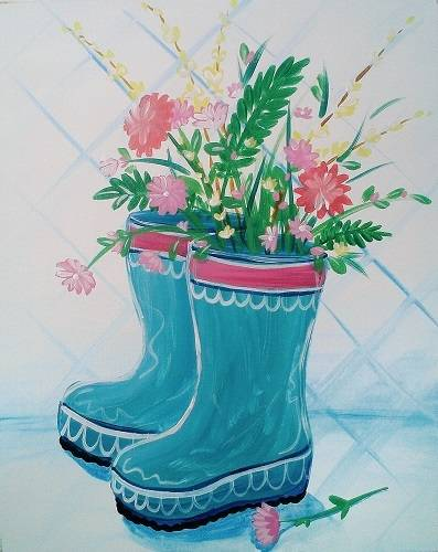 A Bootiful Bouquet paint nite project by Yaymaker