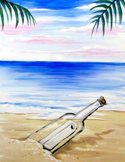 A Your Message in a Bottle paint nite project by Yaymaker