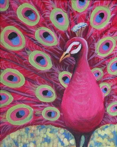 A Pretty in Pink Peacock paint nite project by Yaymaker