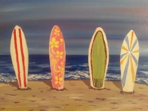 A Surfboards in the Sand paint nite project by Yaymaker