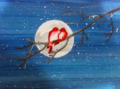 A Moonlit Romance paint nite project by Yaymaker