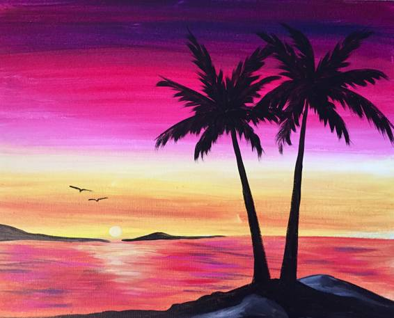 A Tropical Sunset Love Birds paint nite project by Yaymaker