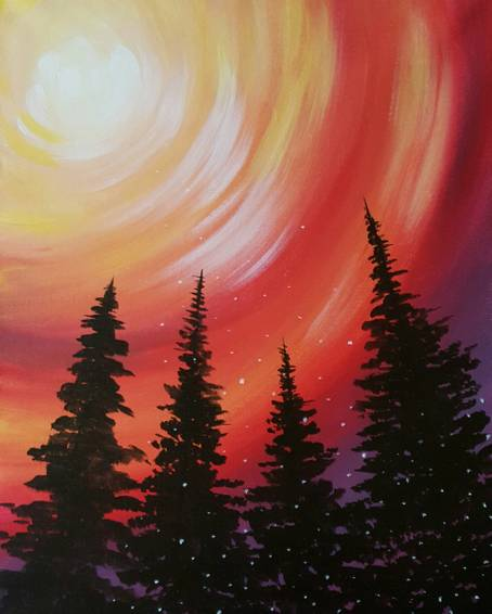 A Big Happy Trees paint nite project by Yaymaker