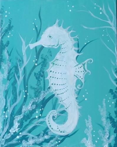 A White Sea Horse paint nite project by Yaymaker