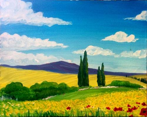 A Tuscany Summer Fields II paint nite project by Yaymaker