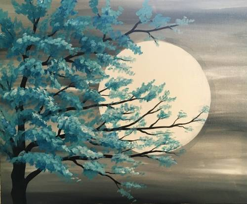 A Teal Tree in Moonlight paint nite project by Yaymaker