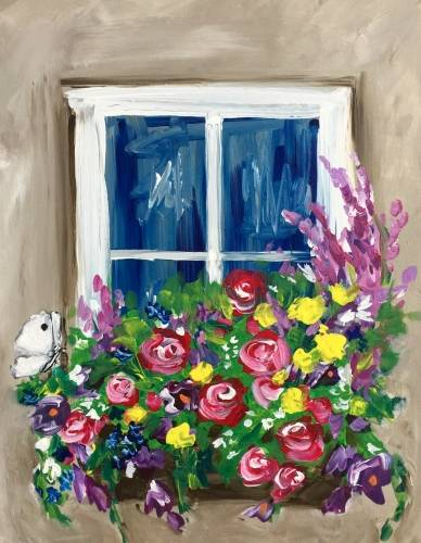 A Window Box Blooms paint nite project by Yaymaker