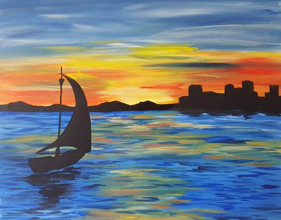 A Boat in the Bay paint nite project by Yaymaker